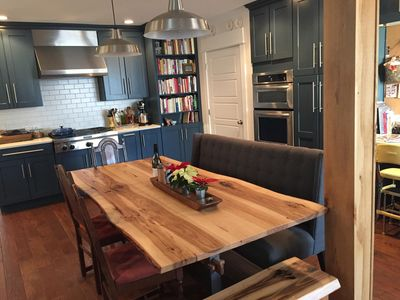 Artisan crafted hickory table seats up to 12