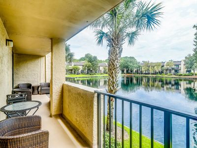 Photo for Updated condo w/ lagoon view, shared pool, hot tub & more - close to beach!