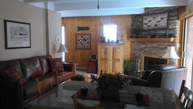 Living/Dining Area, Woodburning Fireplace, Overlooking Ten Mile Creek