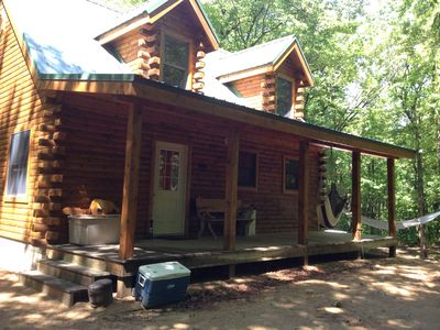 Photo for New Log Cabin 3 Wooded Acres, Out Door Shower, Lake Michigan,  Air Conditioned