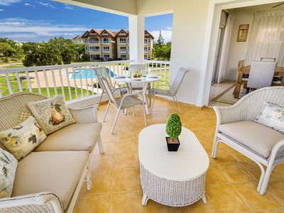 Large 2 bedroom condo near beach with waterpark, fitness center/spa, tennis, etc
