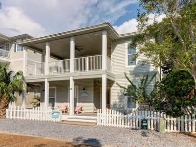 Photo for Charming, private cottage w/private pool and many decks - one block to the beach