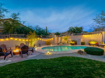 Photo for Gorgeous home w/Private Pool, Heated shared pool, Mountain Views, fire pit & more!