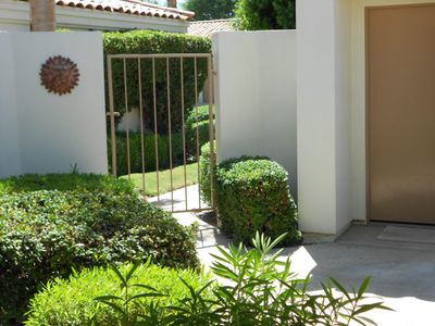Gated entrance to the private patio