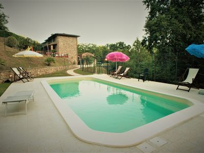 Photo for House for 6 people in the green hills of Lucca, swimming pool, Wi-Fi.