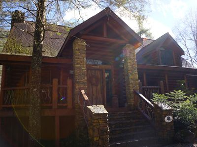 Photo for Luxury 4300 Sq. Ft. Rustic Log Cabin on Stream 'Shadow's Creek'