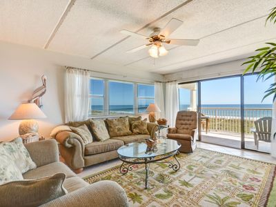 3rd Floor 2 Bedroom/2 Bath condo on the oceanfront of Amelia Island, FL.  Unit accommodates up to 6 guests and comes fully equipped including washer/dryer & all linens.  Features 600' private fishing pier, pool, and community grills!