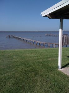 View of the Bay when coming around the side of the house.
