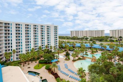 Views of tropical foliage, community amenities and Gulf of Mexico