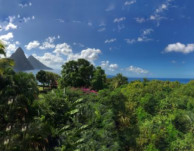 Taking in the panoramic view of the amazing Pitons and Caribbean ocean.