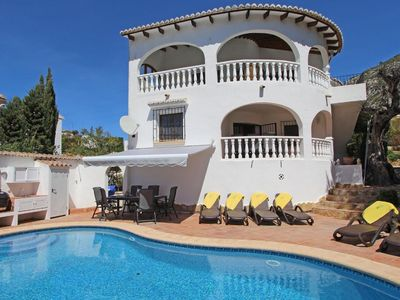 Photo for Beautiful and comfortable villa in Moraira, on the Costa Blanca, Spain  with private pool for 8 persons