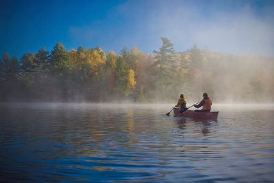 Canoeing in the fall. Photo by Forest Wong.