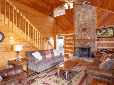 Photo for 3BR Cabin, Views, 5 Mins to Boone, Close to Attractions, Hot Tub, Fire Pit, Foosbol Table, 4 HDTVs