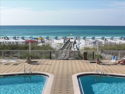 Second floor beach and pool front unit.  Easy to keep an eye on the kids!