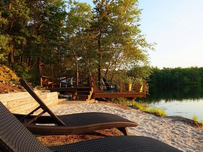 Photo for Lake House with Private Beach, Hot Tub & Deck