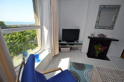 A view of the lounge with its lovely sea view