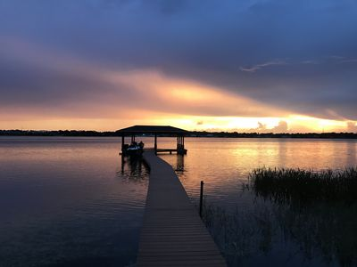 Photo for New! - Relaxing Sunset Retreat on Lake Clay with Private Dock and Beach