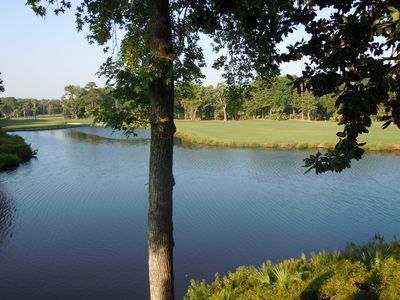 Enjoy expansive views of Turtle Point golf course and large lagoon