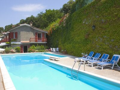 Photo for Stunning villa, panoramic lake view, private swimming pool and beach near Rome
