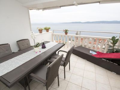 Photo for Two bedroom apartment with terrace and sea view Pisak, Omiš (A-5154-g)
