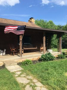 Photo for Authentic Hocking Hills log cabin with guest house on 12 private acres with pond