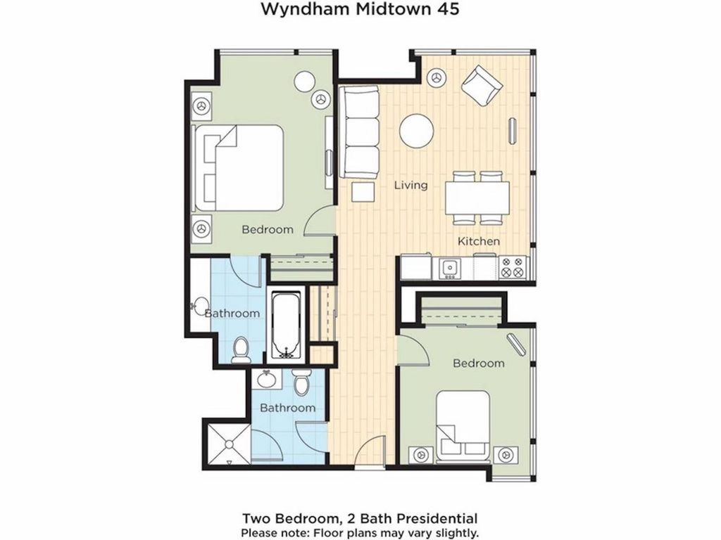 Wyndham midtown 45 2 bedroom presidential suite www for Wyndham at home