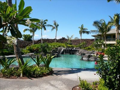 Palm Villas Waterfall Pool Is Just Outside the Front Door