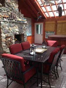 Extra dining space in sunroom