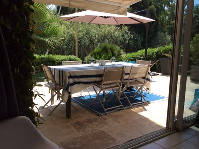 Photo for Port Cogolin beautiful ground garden 3 rooms with swimming pool 7 km from St Tropez