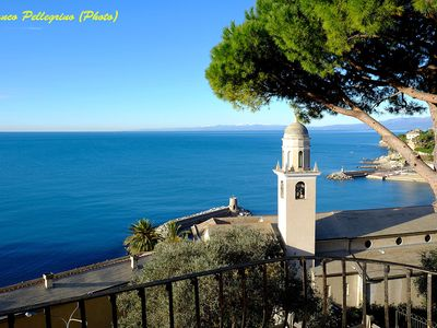 Photo for Large studio apartment in villa with two balconies overlooking the sea, very close to beaches