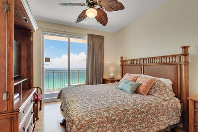 Gulf front master bedroom with King Sized bed.  Access to your private balcony and en suite bathroom.