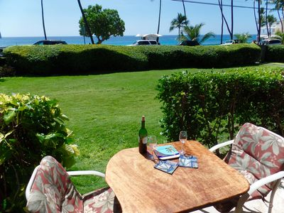 The View! Great spot for meals!. Skip on over to the beach for a dip in between!