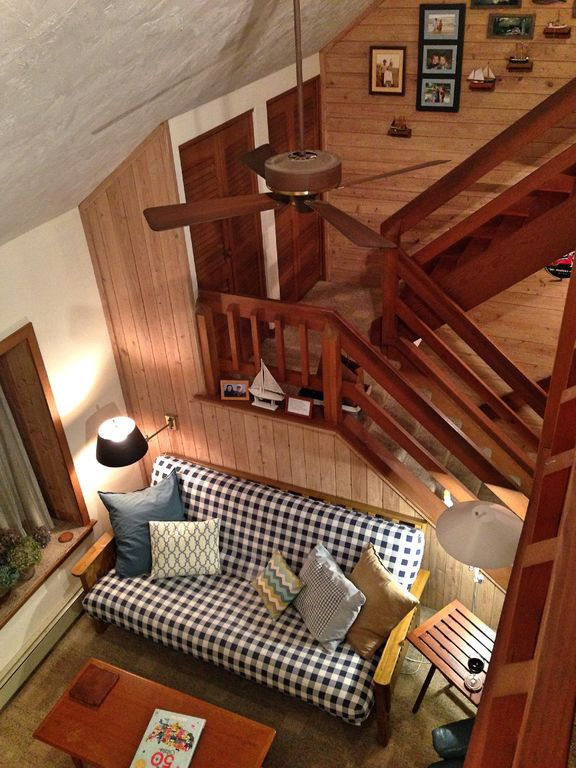 View of downstairs living room from loft