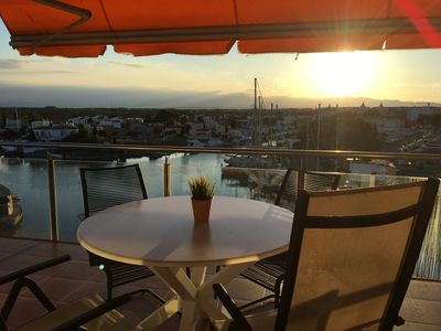 Photo for Panoramic view of the Mediterrannée, apartment on canal near beach