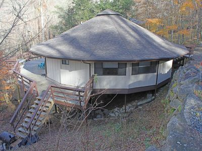 Photo for Pet friendly Mushroom Park roundhouse w/updated kitchen and wraparound deck