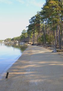 600 foot sandy beach w/ gentle slope into water for kids to enjoy swimming, etc.