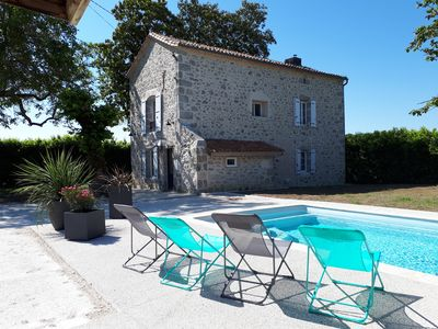 Photo for NEW: Beautiful stone house with fireplace and swimming pool