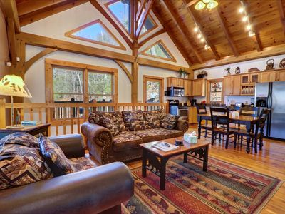 Photo for Luxurious, super private cabin w/ game room, hot tub, & fireplace!