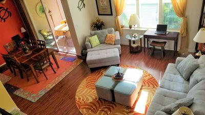 The living room and dining room are spacious, warm and inviting.