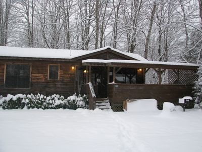 Photo for Romantic & Cozy 1BR 'Real Log Cabin' Riverside w/Hot Tub, Fireplace + (sleeps 4)