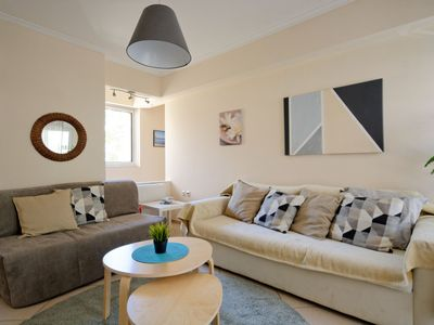 Photo for Brand new family apartment in Athens/Dafni,100m from metro station, sleeps 4