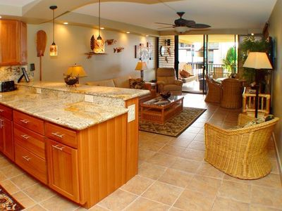 Kitchen has been totally remodeled-Living area opens up to the extra large lanai