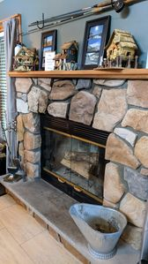 Wood burning fire place; Complimentary fire starter logs provided