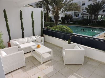 Photo for BEAUTIFUL LOFT + PRIVATE TERRACE + 2 SWIMMING POOLS / PARKING LESS THAN 50 M FROM THE BEACH
