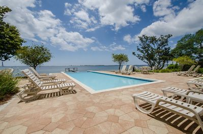 Inviting infinity-edge pool! Pool is shared by Palm Breeze and Seahorse.