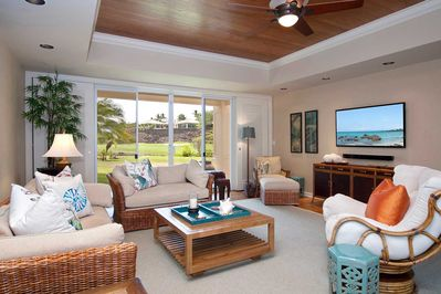 Our living room enjoys a view of the 16th hole of the Mauna Lani north course
