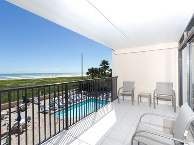 Photo for 2 bedroom condo over the pool area with a great beach view