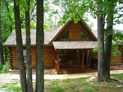 Photo for Luxury 3 BR/2BA Real Log Cabin-W/ Private Hot Tub!