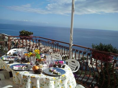 Photo for Your own terrace overlooking the ocean, in a private residence, free park, wifi