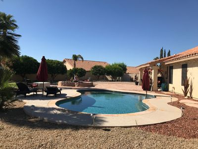 Private pool with 2 Baja steps with bubblers & umbrella sleeves